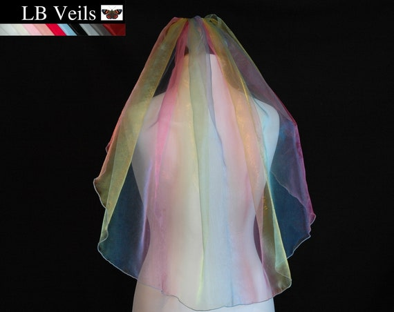 1 Single Tier Rainbow Veil LB Veils 180 UK