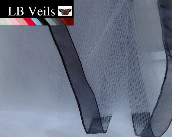 Black Ribbon Edge 1 Tier Veil Plain Wedding  LB Veils LBV183 UK