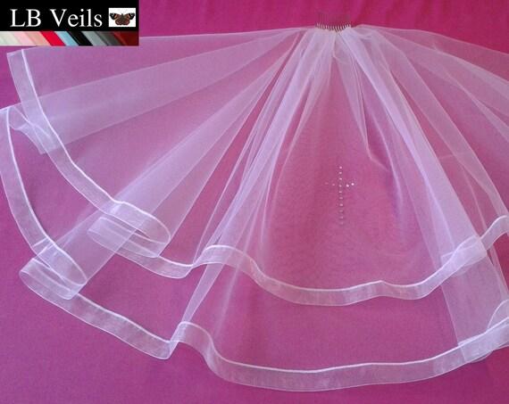 Holy Communion Veil 2 Tier Crystal Cross LB Veils LBV187 UK