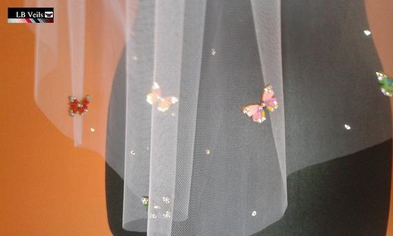 Wedding Veil Butterfly and Crystal Diamante 1 Single Tier Luxury Designer Elbow Length Handmade in UK White Ivory Cream Pink Black LBV205
