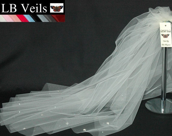 2 Tier Crystal Flower  Wedding Veil LB Veils LBV36s UK