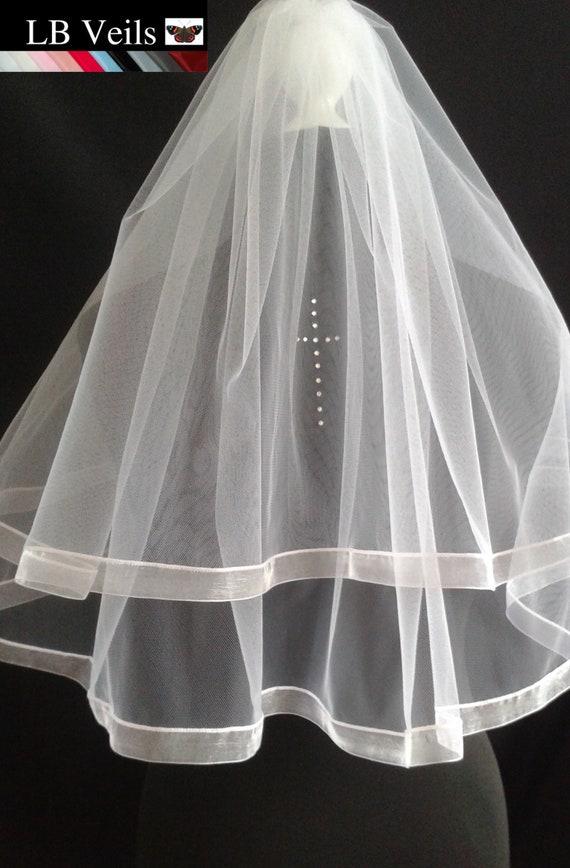 Ribbon Shoulder LB Veils LBV187 UK Edge Holy Crystal Veil Length Cross White Elbow Communion Diamante Wedding Ivory 2 Tier