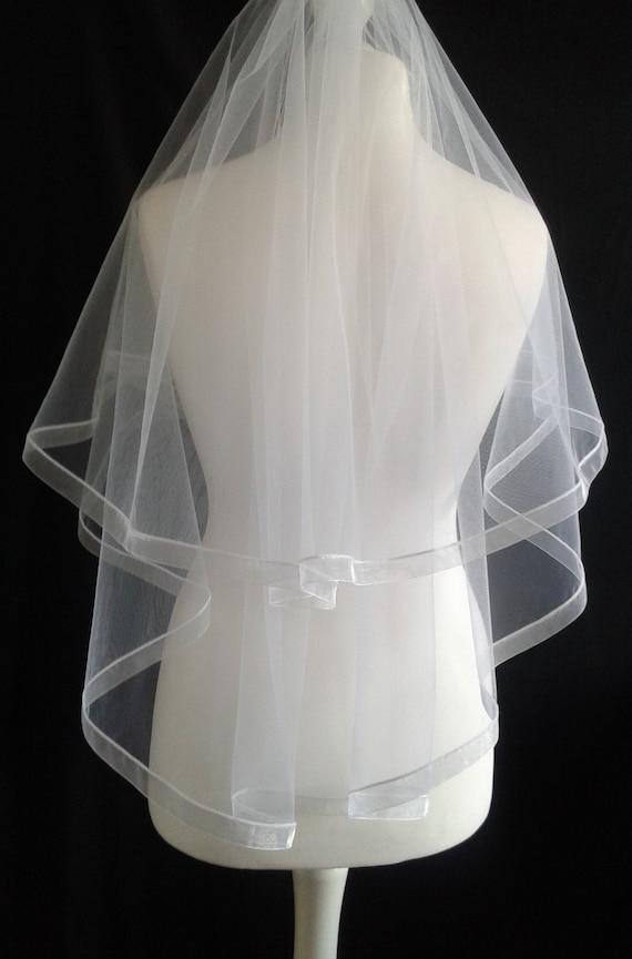 Ribbon Edge 2 Tier Veil White Plain or with Crystal Wedding LB Veils LBV184 UK