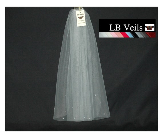 1 Single Tier Crystal Wedding Veil LB Veils 173 UK