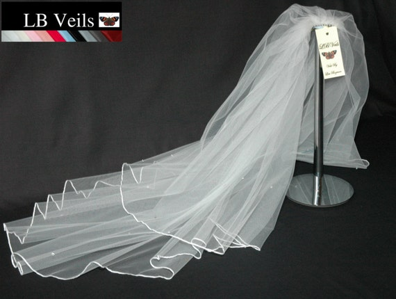 2 Tier Crystal Wedding Veil LB Veils LBV145 UK