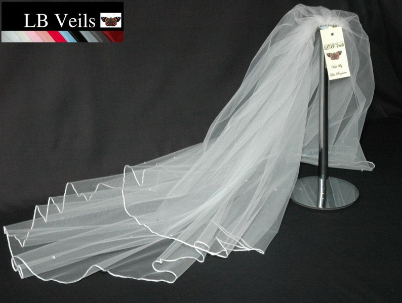 Pink Veil Any Length Wedding 2 Tier Plain Long Short Floor LBV156 LB Veils UK