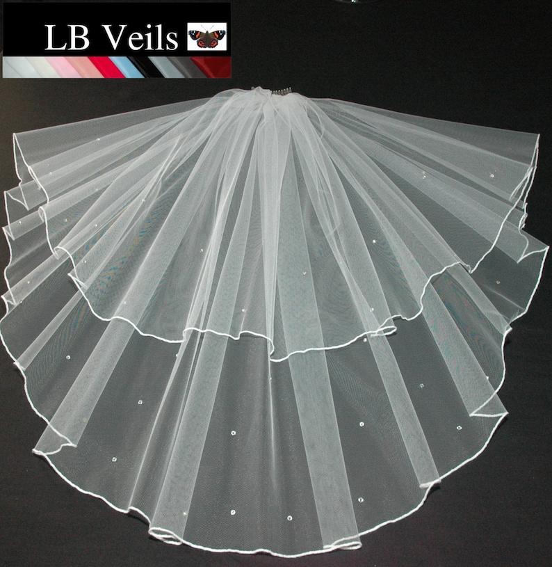 Ivory Veil Cathedral Length Wedding 2 Tier Long Plain LBV156 LB Veils UK