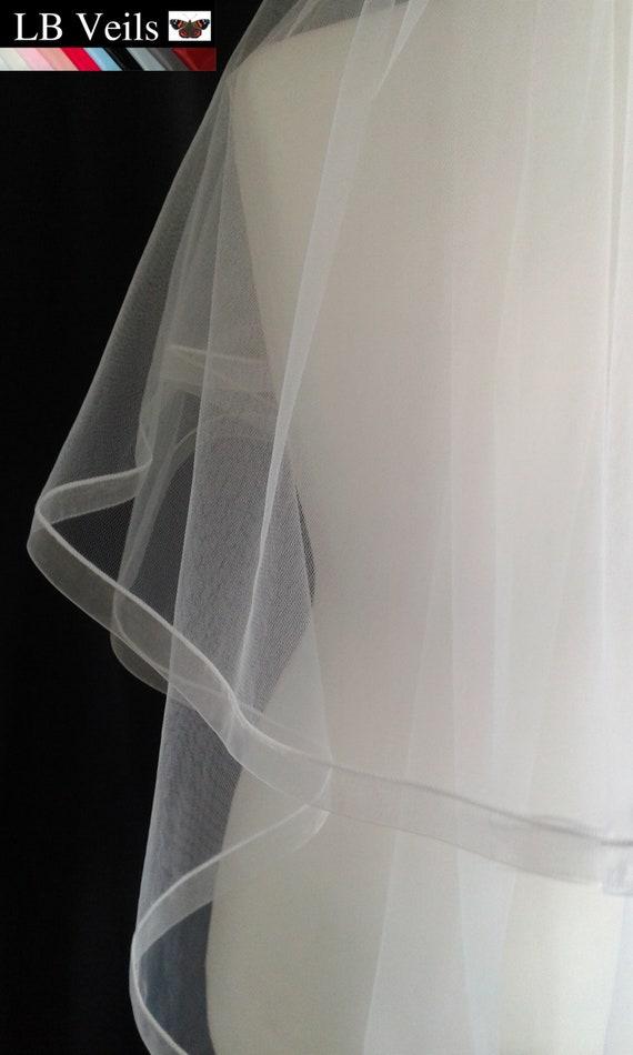 Ribbon Edge 2 Tier Ivory Veil Plain Wedding LB Veils LBV184 UK