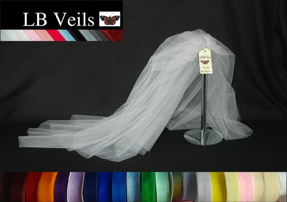 Ribbon Edge 2 Tier Ivory Veil Wedding LB Veils LBV184 UK