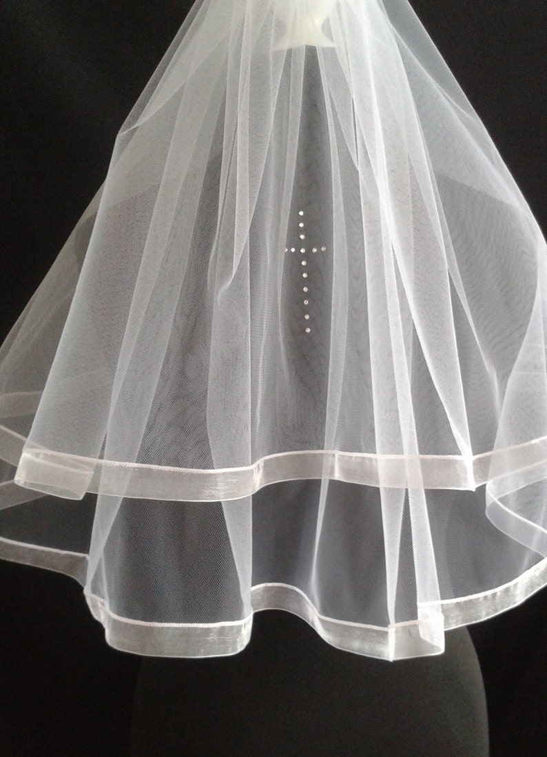 Wedding 2 Tier Ribbon Edge Length Diamante Elbow Shoulder Cross Ivory Communion White LB Veils LBV187 UK Veil Holy Crystal