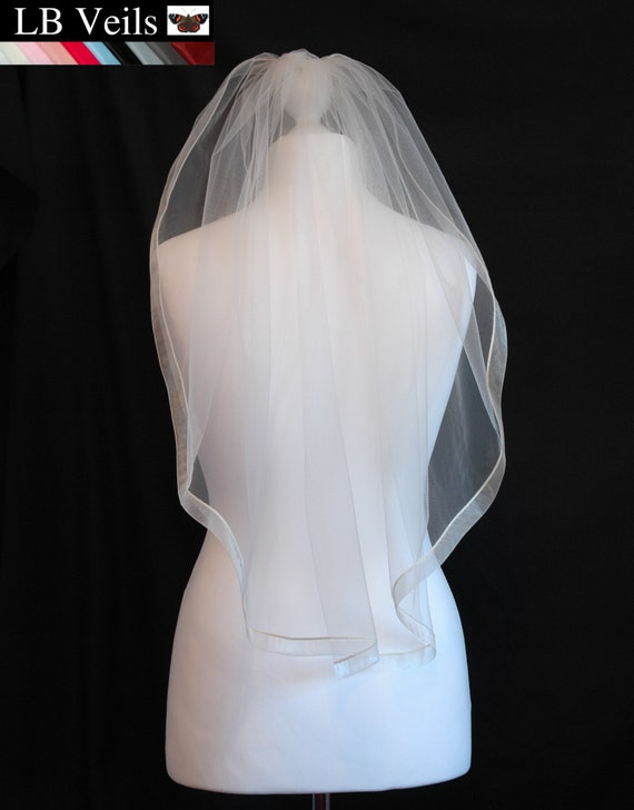 1 Tier Wedding Veil Ribbon Edge Beige Grey Blue Black Silver Ivory LB Veils LBV183 UK