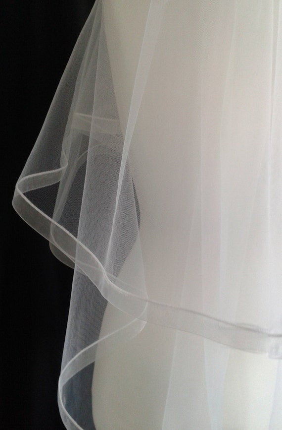 Ribbon Edge 2 Tier Plain Wedding Veil LB Veils 184 UK