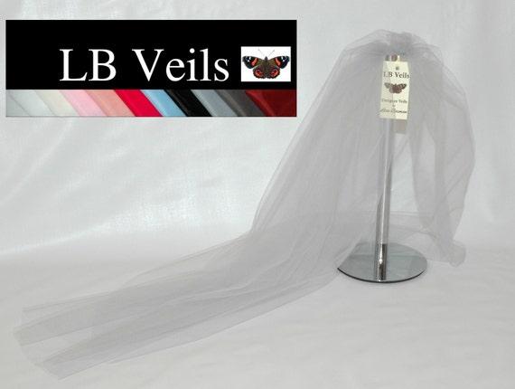 Designer Silver Grey Plain Wedding Veil  1 Single Tier Raw Edge Any Length or Colour LBV162 LB Veils UK