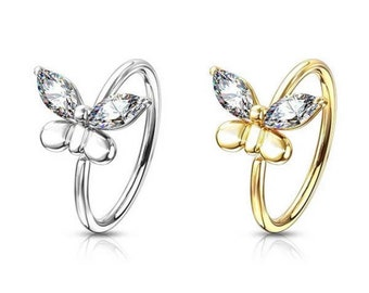 Crystal Butterfly Hoop Ring For Nose & Ear - 90's style body jewellery