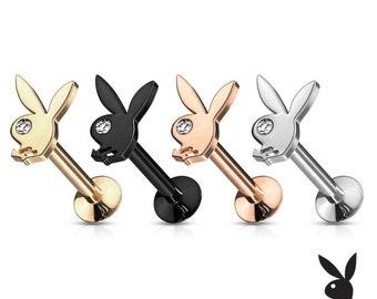 Playboy Bunny Crystal Eye Stud - Labret / Helix, Monroe, Ear