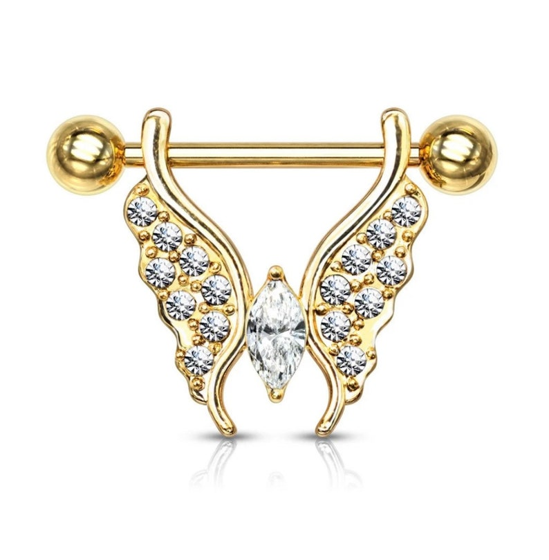 Crystal Paved Butterfly Barbell Nipple Ring