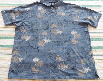 d6119004 Caribbean Joe Vintage Mens Polo Shirt 4XLT Big & Tall Blue Golf Cotton 4XL  XXXXL Palm Tree Map Print