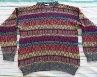 3e3ca4a7fc8 Vintage Benetton MENS Size 50 L Large shetland wool crew neck geometrical  abstract sweater jumper 80s
