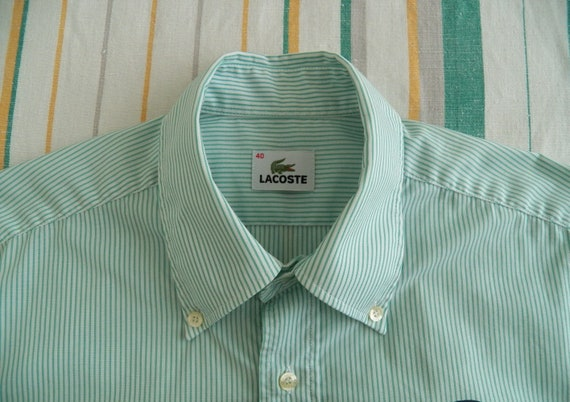 Vintage Lacoste small point button down collar plaid shirt size 43 so medium