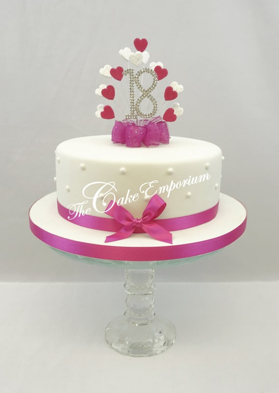 CAKE TOPPER PEARL BURST DIAMANTE BIRTHDAY ANNIVERSARY NUMBERS WITH RIBBON /& BOW