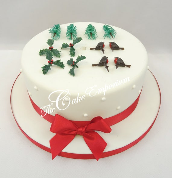 Christmas Cake Toppers Plastic Figures Yule Log Cupcake Decorations Motto Tree