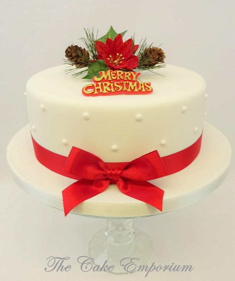 Torta Stella Di Natale.Stella Di Natale E Decorazione Di Torta Di Natale Di Edera Motto Dell Oro E Nastro Pack Cake Topper