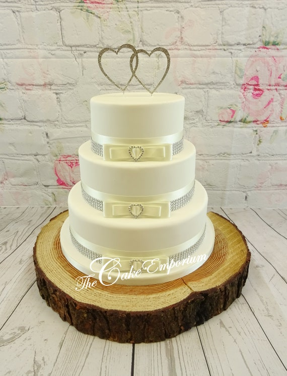 Wedding cake rhinestone double love heart 3 love heart | Etsy