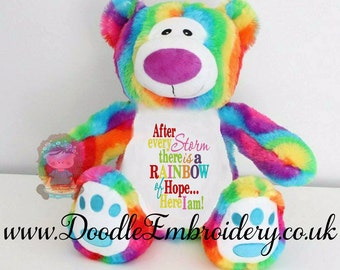 Personalised Rainbow Teddy Bear, Embroidered, new baby gift, rainbow baby, After every storm, there is a rainbow of hope  / Birth Square,