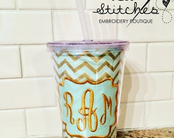 Mint and Gold Monogrammed Tumbler