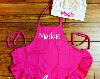 Girl's Pink Apron and Chef Hat-- personalized with name or initials