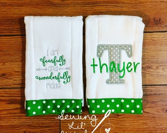 Set of 2 Personalized Burp Cloths