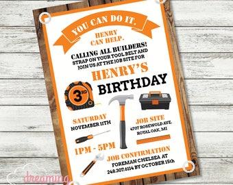 Builder Construction Home Depot Birthday Party Invitation