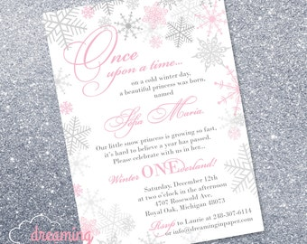 Snow Princess Winter Onederland Birthday Invitation