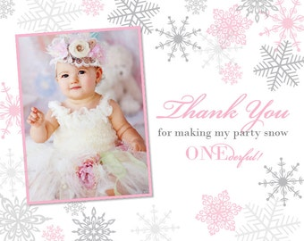 Snow Princess Winter Onederland Thank You Card - Coordinates with Invite!
