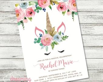 Unicorn Magical Floral Birthday Invitation - Girl - Any Age!
