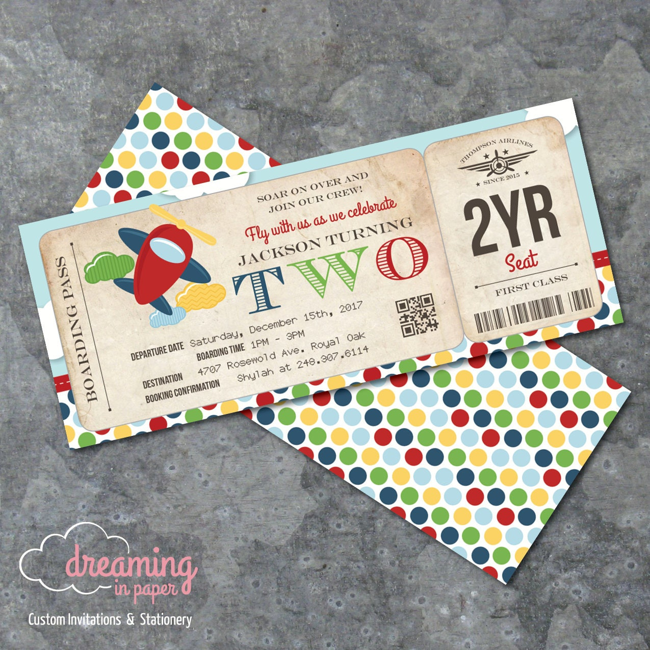 Airplane Ticket Boarding Pass Birthday Invitation: Airplane Airline Boarding Pass Ticket Birthday Invitation