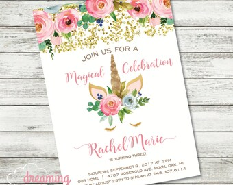 Unicorn Magical Floral Birthday Invitation with Faux Gold foil/glitter - Girl - Any Age!