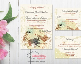 Love Birds Vintage Wedding Invitation Set