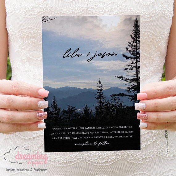 rustic mountain landscape wedding invitation set etsy
