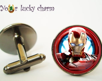 Iron man cufflinks, Arc reactor cufflink,(Image under glass), Iron man cuff links, groom cufflink,  men gift, wedding, groom, husband