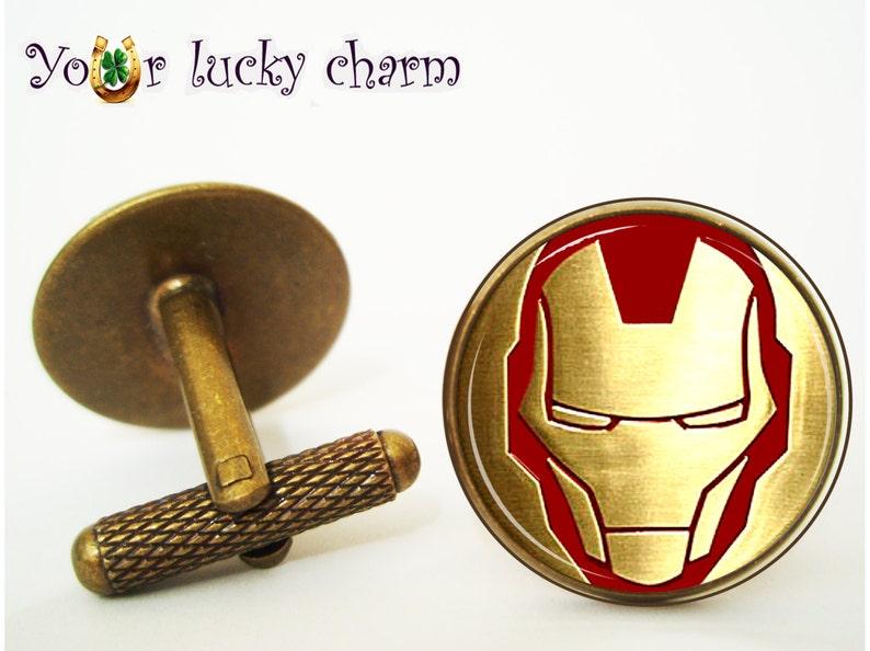 Cufflinks Superhero for him Cufflinks Iron man comics Husband gift wedding groom Arc reactor gif for Dad gift for men Tony Stark