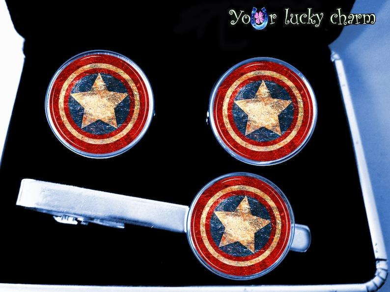 captain husband gift superhero men gift wedding groom gift for Dad set cufflinks and tie clip Image under glass