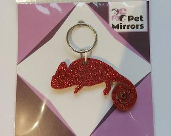Glitter acrylic Chamelon keyring/bag charm - 9 colour choices