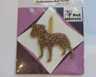 Glitter acrylic Staffordshire Bull Terrier Male Christmas decoration - 9 colour choices