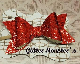 Red Glitter Bow, Glitter Bows, Red Glitter Headbands, Red Glitter Hair Bows, Baby Bow, Baby Glitter Headband, Girls Hair Accessories