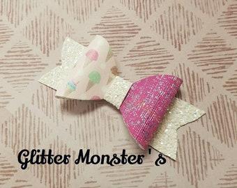 Ice Cream Cone Hair Bow,Ice Cream Headband,Glitter Ice Cream Bow, Leather Bows, Rainbow Glitter Bow, Toddler Bows, Girls Hair Clips