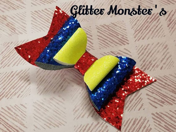 Disney Princess Snow White Inspired Girls Glitter Hair Bow