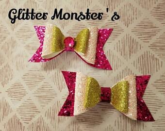 Aurora Inspired Glitter Bow, Aurora Bow, Princess Aurora Headband,Glitter Aurora Bow, Princess Aurora Hair Clip,Pink Princess Headband