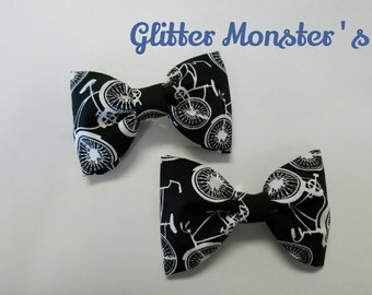 Boys Bicycle Bow Tie in Cotton, Wedding Accessories, Ring Bearer Tie, Groomsmen Tie, Graduation Bow Tie, Clip on Bow Tie