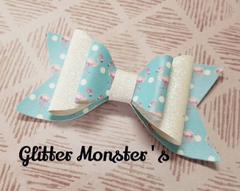 Glitter Flamingo Hair Bow,Flamingo Hair Bow,Flamingo Headband,Glitter Flamingo Bow,Leather Bows, Glitter Bow, Toddler Bows,Girls Hair Clips